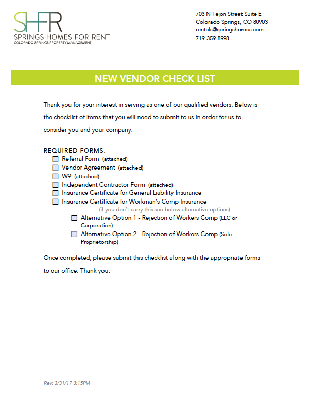 Springs Homes for Rent Vendor Packet